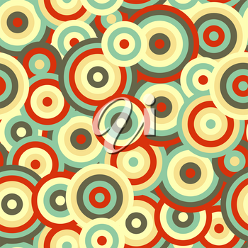 Rings and circles in retro colours, seamless pattern