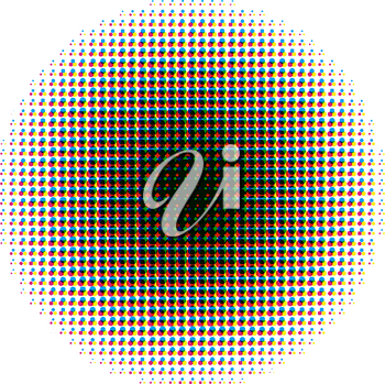 Round halftone screen pattern in CMYK colours isolated on white