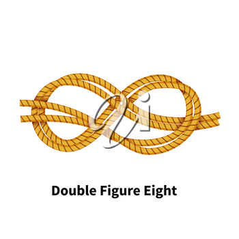 Double Figure Eight sea knot. Bright colorful how-to guide isolated on white