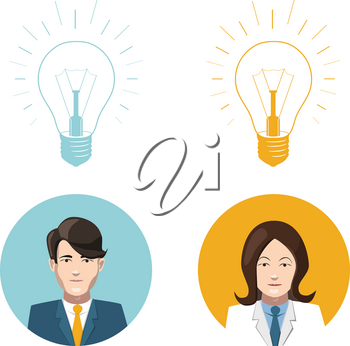 Mans and womans flat avatars with lighting bulb idea icons
