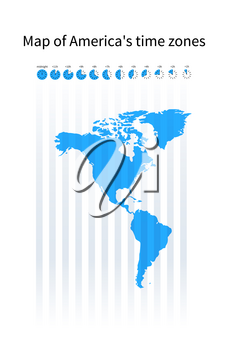 Map of America's time zones, blue silhouette on white