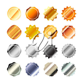 Set of bright glossy golden and silver guarantee labels in retro style isolated on white