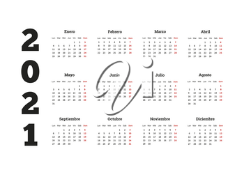 2021 year simple calendar in spanish on white