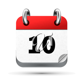 Bright realistic icon of calendar with 10 date on white