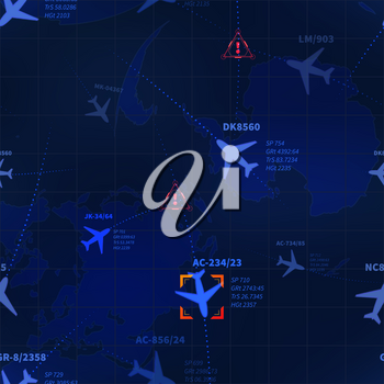 Detailed blue military radar with airline routes and target icon seamless pattern