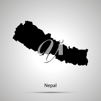 Nepal country map, simple black silhouette