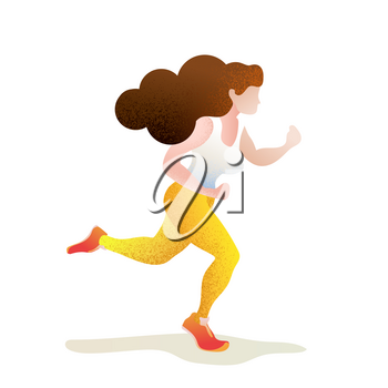 Pretty girl in jogging pose, textured flat trendy run concept illustration on white