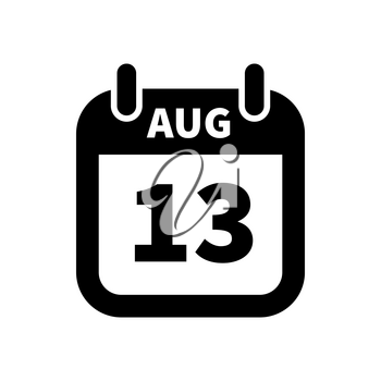 Simple black calendar icon with 13 august date on white