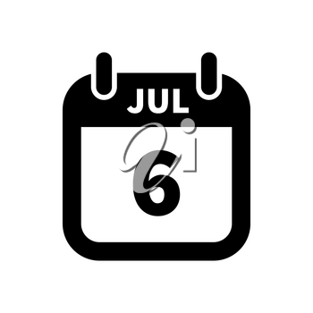 Simple black calendar icon with 6 july date on white