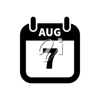 Simple black calendar icon with 7 august date on white