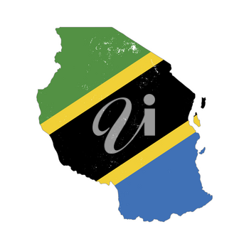 Tanzania country silhouette with flag on background on white