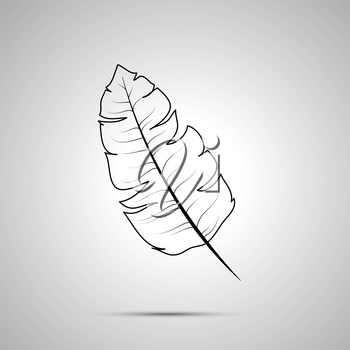Long feather outline simple black icon with shadow