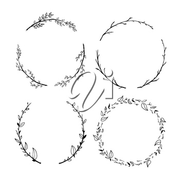 Set of cute detailed hand drawn floral wreaths on white