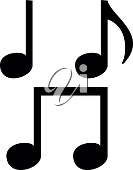 Music note set  icon . Black color . It is flat style
