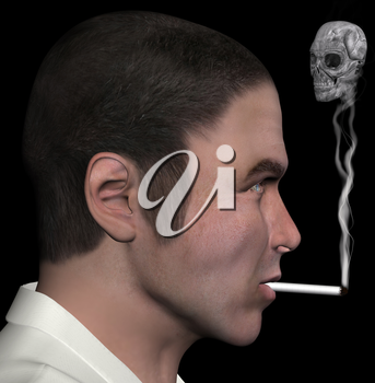 Man profile and smoke skull 3d illustration.