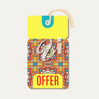 Tag with Talavera bright ornament. Template for gift coupon, voucher, tags,