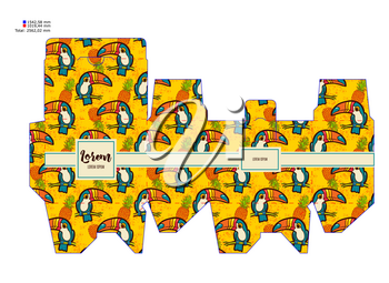 Template pattern decorative gift box with tropical toucan. Vector design Die-stamping. Diy pack boho style. Stencil printing, cutting bonbonniere. Die cutting vector layout