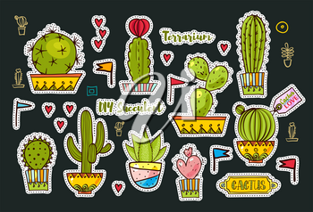 Set Fashion patches, brooches with cacti, hearts, flags. Cute Vector Doodles funny, clothes pins, jacket, stickers, patches, pins, badges. Cartoon style of the 80s, 90s Modern Pop Art Embroidery