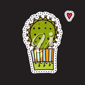 Fashion patches, brooches with cacti, hearts, flags. Cute Vector Doodles funny, clothes pins, jacket, stickers, patches, pins, badges. Cartoon style of the 80s 90s Modern Pop Art Embroidery