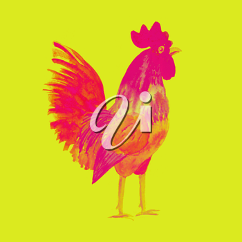 Rooster symbol 2017. Bright red Watercolor illustration. Fashionable print on t-shirts, bags, cases for smartphones, textiles, fashion design