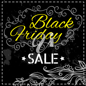 Black Friday vector Vintage grungy design poster template. Retro style Typography. Yellow and black. Trendy.