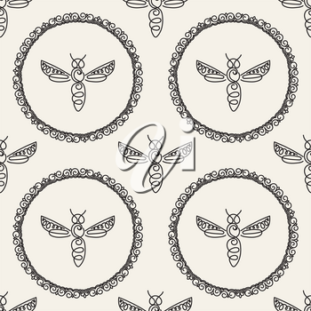 Seamless pattern with insect. Bee texture for corporate identity, packaging luxury brand product, eco-cosmetic, soap, medical product and honey. Style thin line. Decor for smartphone surface design