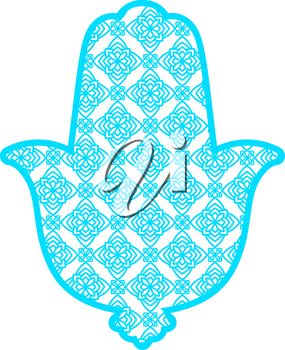 Laser cutting template greeting card Hamsa. Protective amulet in the shape of the palm, which is used by Jews and Arabs. Another name the hand of God. Rich ornamented panel. Cutting file. Vector.