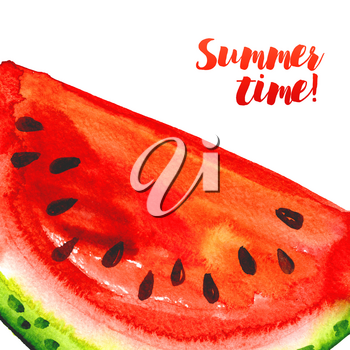 Summer time. Juicy Banner with watermelons and sprays. Poster for hot parties, watermelon events. Watercolor Design Template