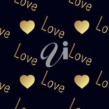 Seamless  pattern with gold hearts on a black background. Contemporary style perfect for wedding, valentines day, save the date, birthday invitation. Vector illustration