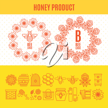 Set of icons on the theme of an apiary and beekeeping in a linear style. Two wreaths - a logo with flowers and bees. Tools for working with bees, beekeeping clothing, products.