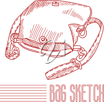 Women's leather handbag in the style of the sketch. Vector.