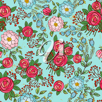 seamless texture with vintage roses and bouquets of red berries and ranunkulyusov