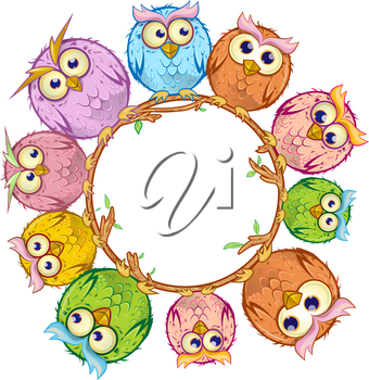 owls cartoon in the white empty circle