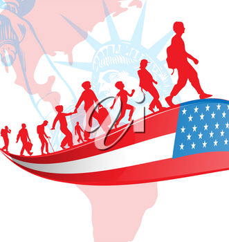 USA flag with immigration people on american map.illustration