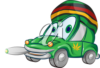 jamaican car cartoon isolated on white background