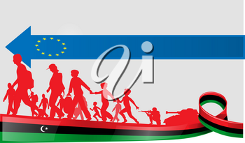 immigration libyan people to europe, vetcor illustration