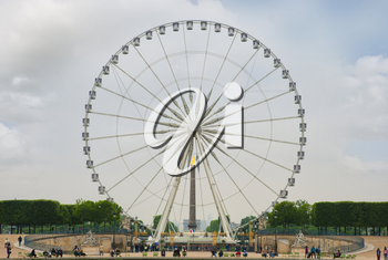 Landscape with a Ferris wheel   in the Tuileries garden in Paris. France