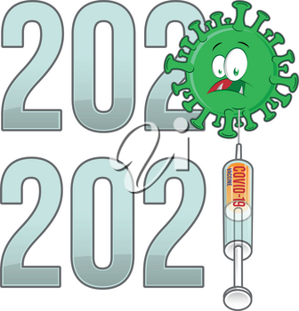 from 2020 to 2021 year  text with covid-19 cartoon and vaccine isolated on white background
