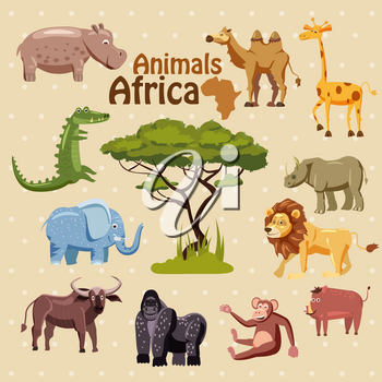 Set of cute African animals stickers, cartoon style, isolated, vector