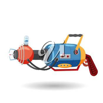 Cartoon retro space blaster, ray gun, laser weapon. Vector illustration
