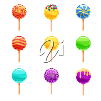 Set of colorful lollipops, sweet candies, vector illustration