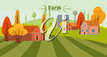 Cute Eco Farming concept landscape, with house and farm outbuildings, autumn