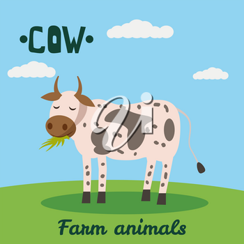 Cute Caw farm animal character, farm animals, vector illustration on field background