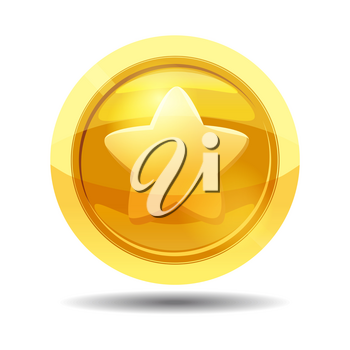 Game coin with star, game interface, gold