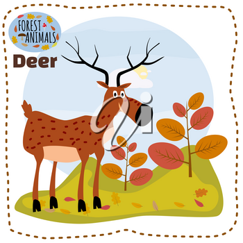 Cute cartoon deer on background landscape forest illustration, vector