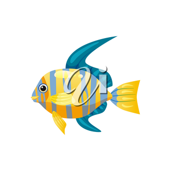 Tropical exotic angel fish, bright colorful coloring