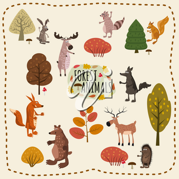 Set of forest animals, rabbit, bear, fox, elk, deer, squirrel, raccoon, hedgehog wolf and cute design elements of forest