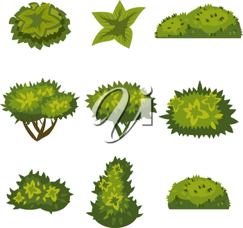 Set of bushes in catyoon style for decoration on your works, grass in cartoon style, green plants