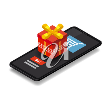 Isometric smartphone with red gift box. Online shopping concept