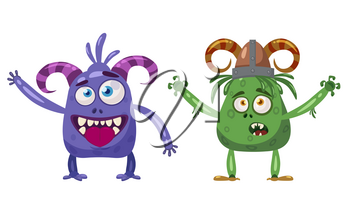 Troll and Yeti cute funny fairytale character, emotions, cartoon style